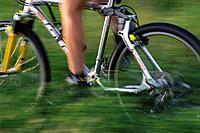 Bike moving through fields