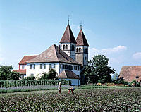 Peter and Paul church, vegetable gardening, Reichenau (Islet), Lake Constance, Baden-Württemberg, Germany