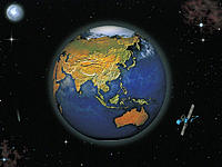 Relief Globe of Asia with Orbiting Satellite