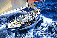 HI, Kenwood Cup Yacht Race, aerial view of ´Windquest´ and crew, MRA waiver