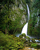 Wahclella Falls, tiered type falls located on Tanner Creek. Multnomah County. Oregon. USA