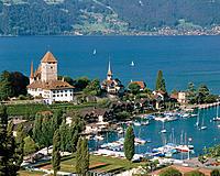 Thun Lake and Spiez city. Switzerland
