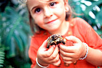 Little girl with turtle