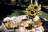 Lawn Picnic on a Quilt with Sunflowers
