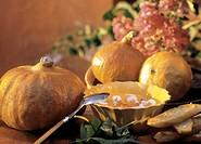 Pumpkin Soup with Tomato Garnish, Garlic Bread