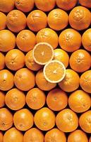 Pile of Oranges, One Cut in Half