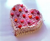 Pink love-heart with coconut flakes & heart-shaped sweets (1)