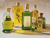 Still Life of Five Bottles of Olive Oil