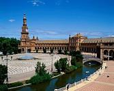 Architecture, Building, Espana, Fountain, Holiday, Landmark, Plaza, Scenery, Seville, Spain, Europe, Tourism, Travel, Vacation,