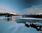 Early winter snow covers South Sister, Broken Top and Sparks Lake. Deschutes National Forest. Oregon. USA