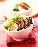 Sweet and sour pork on udon noodles