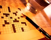 Crossword Puzzle with Word Solutions Filled In, Sepia´