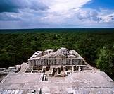 Maya pyramid in ´Calakmul´ Biosphere Reserve. Campeche. Mexico