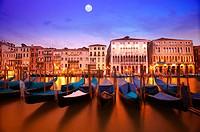 Gondolas on the Grand Canal. Venice. Italy