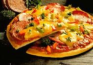 A salami pizza, cut into (1)