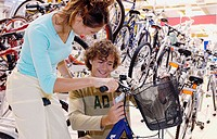 Buying a bicycle at shopping center