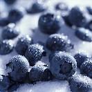 Blueberries on crystal sugar