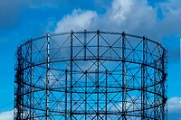 10647756, old gas tank, architecture, outside, detail, gas, gasometer, scaffolding, sky, construction, building, town gas,