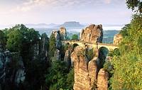Bastei Bridge over Elbe River in Sachsische Schweiz National Park. Saxony. Germany