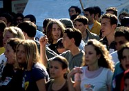 Crowd of young people, blurred