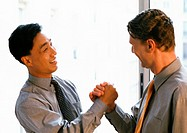 Two men shaking hands, side view