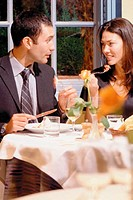 Couple eating out