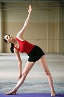 Jewish woman in yoga pose