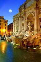 Trevi Fountain under the full moon. Rome. Italy
