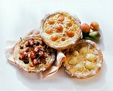 Sweet pizzas with cherries, pears or apricots (1)
