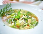 Italian vegetable soup with elbow pasta
