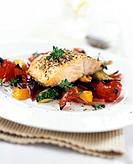 Salmon and fennel on Mediterranean vegetables