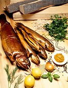 Smoked fish, various spices and herbs