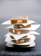 Coffee and almond halva, piled on top of each other