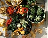 Autumn vegetable still life with pumpkins & artichokes