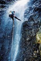 Canyoning at Cilaos cirque. Réunion Island (France)
