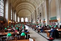 Grand Hall at Boston Public Library. Boston. Massachusetts, USA