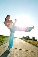 Track, woman, young, Tae bo