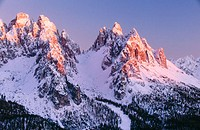 View of the Cadini mountain group (Cima Cadin). Dolomites, The Alps. Italy.