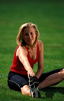 exercises, Fitness, jogging, meadow, practice, sitting, spare time, sports, stretch, Stretching, woman