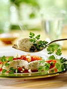 Herb quark dumplings with tomato sugo on plate and fork