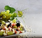 Rice muesli with grapes, raisins and syrup