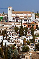 View of the white houses of the Albayzin from the Alhambra. Granada. Andalucia. Spain
