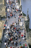 artist, bridge, Charles Bridge, Czechia, Europe, detail, lives, no model release, overview, passerby, people, Prague