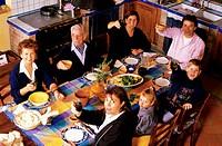 family, lunch, inside