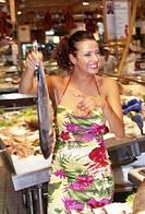 woman, supermarket, shopping
