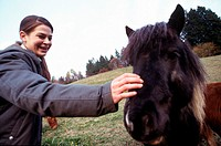 young woman, pony