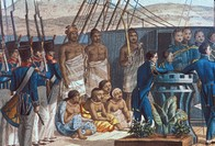 c.1819 Jacques Arago, Baptism of Kalanimoku aboard the Uranie, detail