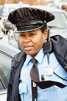 Portrait of a black female police officer