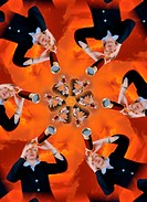 Kaleidoscopic morphing of a picture of a woman looking in a telescope