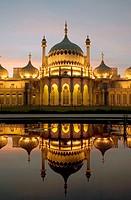 UK, England, Sussex, Brighton, Royal Pavilion at dusk